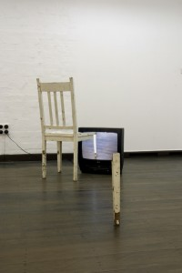 Franz Ehmann dysmorphia, chair, video and tv unit, 2003