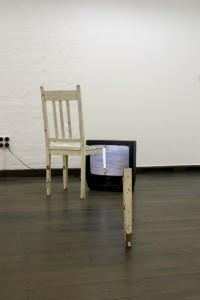 Franz Ehmann dysmorphia, chair, video and tv unit, 2003